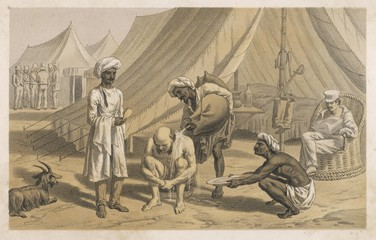 Curry - Rice - Soldier Baths. Date: 1860