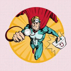 Doctor super hero  flies to treat people.  Profession white coat stethoscope pop art retro style.