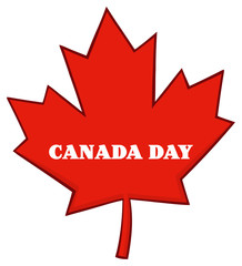 Canadian Red Maple Leaf Line Cartoon Drawing. Illustration Isolated On White Background With Text Canada Day