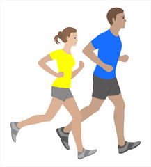 Running man and woman isolated vector illustration. Running couple, jogging couple.