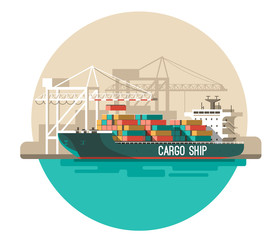 Delivery service concept. Container cargo ship loading, sea freight. Flat style vector illustration.