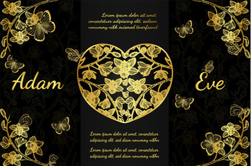 Butterfly with orchids invitation card by hand drawing.Butterfly and gold flower on black background