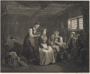 Preparing the bride for her wedding  Sweden. Date: 1865
