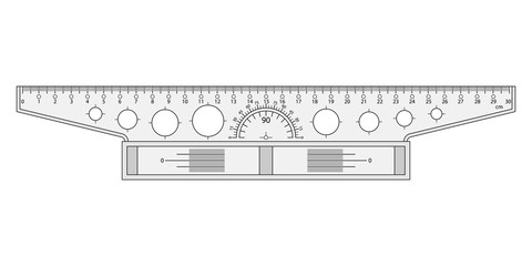 The measuring tool a t-square on a white background