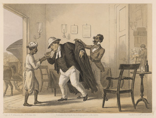 Padre in British India helped on with his jacket  1860. Date: 1860