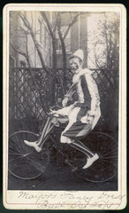 Clown on Bicycle Photo. Date: 28 October 1897