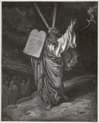 Old testament Bible scene: Moses and the ten commandments