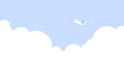 Vector illustration of plane and clouds