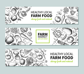 Vegetable hand drawn vintage vector banner. Farm Market poster. Vegetarian sketch of organic products.