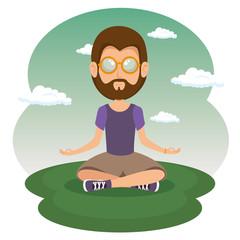 hippie man meditating vector illustration graphic design