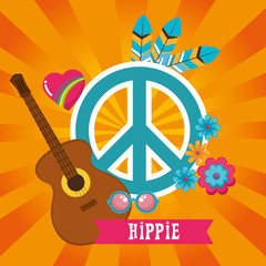 Hippie retro style background vector illustration graphic design