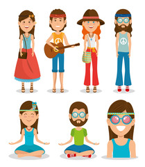 hippie people dressed In Classic Woodstock Sixties vector illustration graphic design