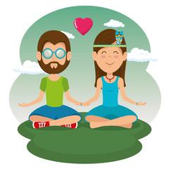 hippie people dressed In Classic Woodstock Sixties vector illustration graphic design