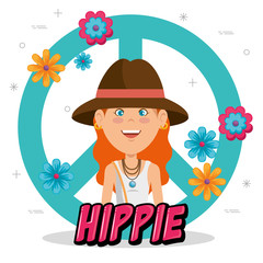 happy hippie woman on a peace and love pattern vector illustration graphic design