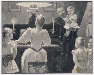 Mama Plays  Family Enjoy. Date: 1890s