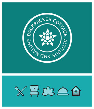 logo, identité, randonnée, trekking, edelweiss, backpacker cottage, refuge, montagne, hôtel, chambre d'hôte