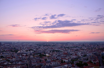 Cityscape of Berlin at sunset, aerial view