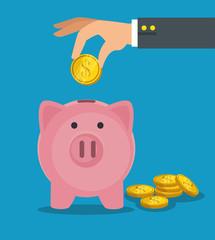 save money concept piggy bank vector illustration graphic design
