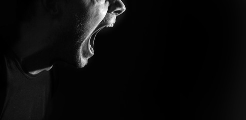 screaming angry aggressive militant guy, man, black and white portrait, evil face, teeth