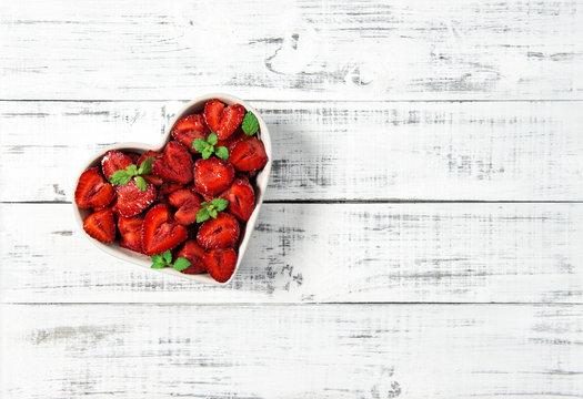 Strawberries heart wooden background Food Fruits Berries