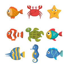 Colorful sea creatures set over white background vector illustration