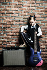 schoolgirl with guitar