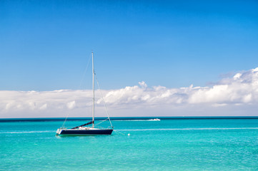 yacht boat at Exotic beautiful marine beach of Antigua St. Johns
