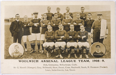 Woolwich Arsenal Team. Date: 1908-9