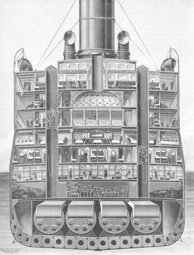 Lusitania Cross Section. Date: 1906