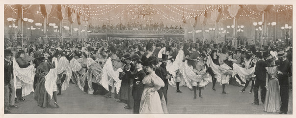 Ball at the Moulin Rouge club in Paris. Date: 1898
