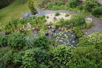 Gartenteich aus der Vogelperspektive