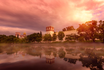 Foto op Aluminium Koraal Mystycal Novodevichy Convent, Moscow, Russia. UNESCO world heritage site.