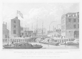Regent's Canal - Limehouse. Date: 1827