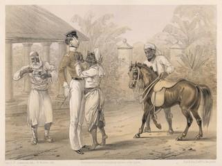 Obraz Preparing for riding in India  1860  British raj. Date: 1860 - fototapety do salonu