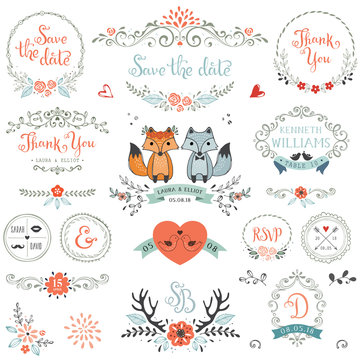 Hand drawn rustic Save the Date and Wedding collection with typographic design elements.