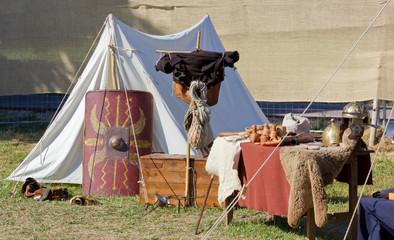 Tent in a Roman Encampment at a Historical Reenactment