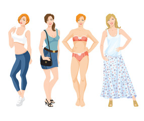 Vector illustration of women in different style of clothes isolated on white background