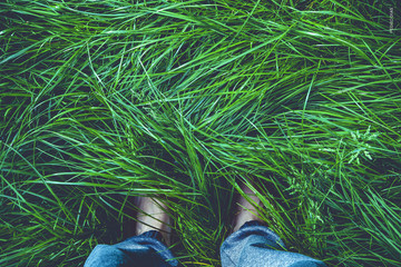 Feet in grass.