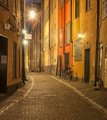 Narrow street in the old part of Stockholm, Sweden