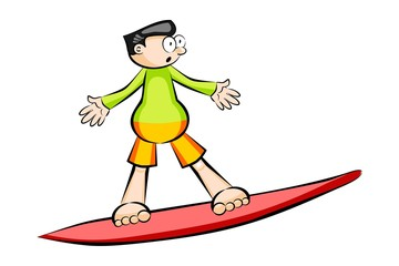 Cartoon surfer isolated on white