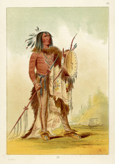 Wun-nes-tou  Medicine Man of the Blackfeet tribe. Date: circa 1830