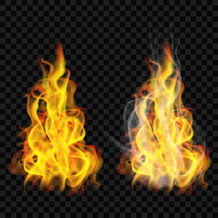 Fire flame with smoke and without. Transparency only in vector format