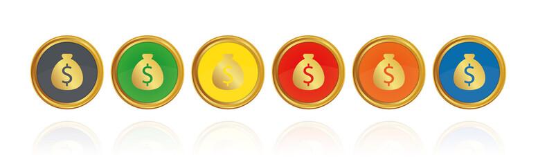 Geldsack mit Dollar Zeichen - Goldene Buttons