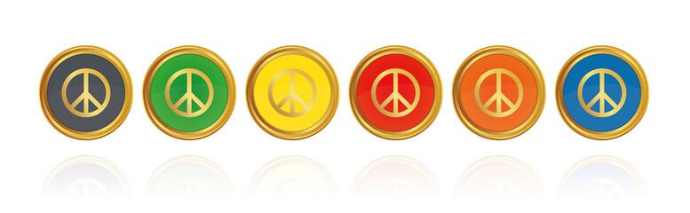 Peace - Goldene Buttons