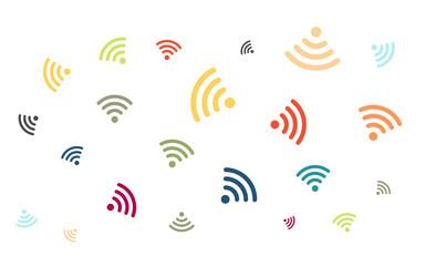 Viele bunte WLAN - WIFI Symbole