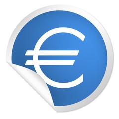 runder Sticker blau - Euro