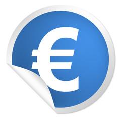 runder Sticker blau - Euro Zeichen