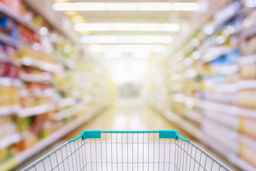 shopping cart in supermarket aisle defocused blur background
