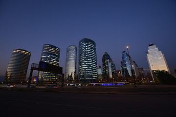 Skyscrapers and city lights in Santiago, Chile