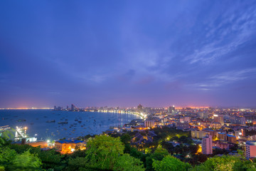 Pattaya City and Sea with suset, Thailand. Pattaya city skyline and pier at suset in Pattaya Chonburi Thailand